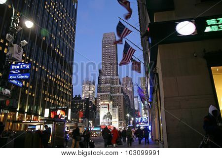 Nighttime In Ny Features With Madison Square Garden