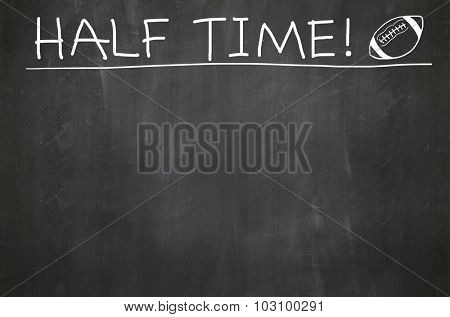 Chalkboard with half time and football - room for copy