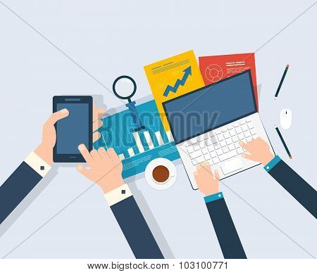 Vector illustration concept of analyzing project, financial report, market research.