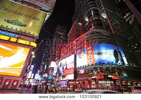 Times Square, New York Street Night Life. New York Which Is The Largest And Most Populous City In Th