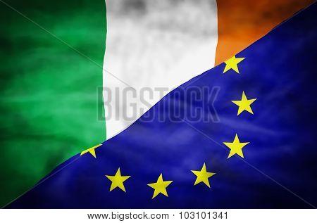 Ireland and European Union mixed flag.