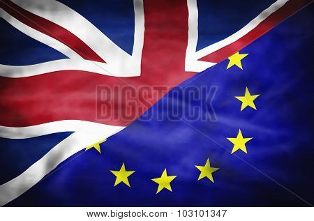 Great Britain and European Union mixed flag.