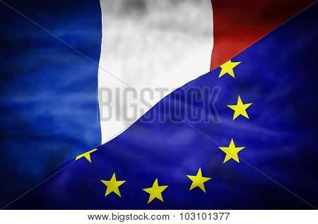 France and European Union mixed flag.