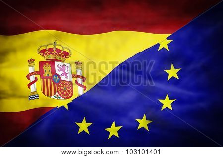 Spain and European Union mixed flag.