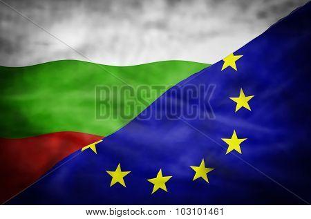 Bulgaria and European Union mixed flag.
