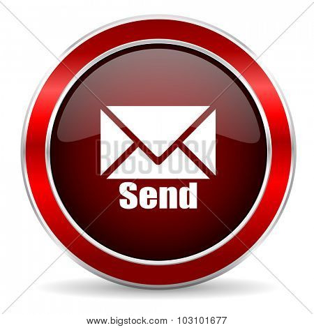 send red circle glossy web icon, round button with metallic border