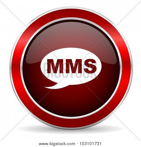 mms red circle glossy web icon, round button with metallic border