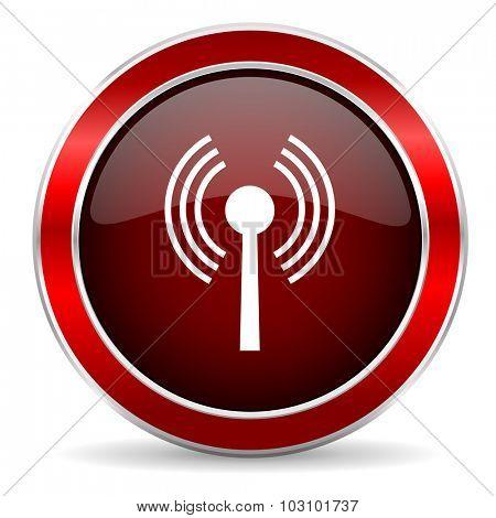 wifi red circle glossy web icon, round button with metallic border