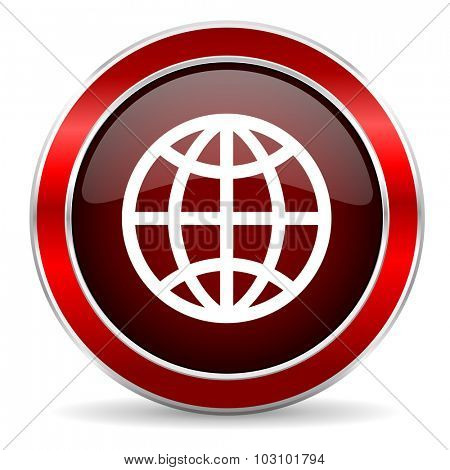 earth red circle glossy web icon, round button with metallic border
