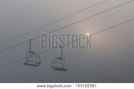 Photo Ski Lift On The Mountain In Bukovel