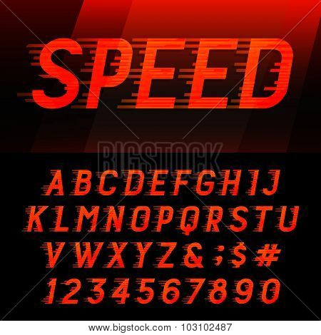 Speed alphabet vector font.