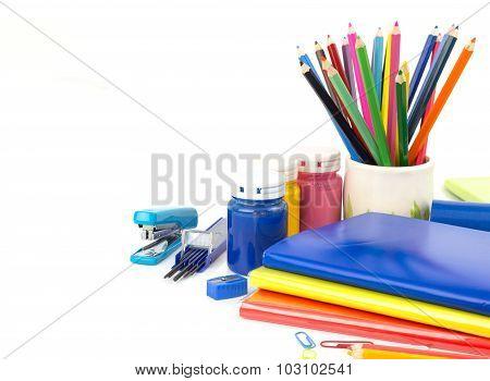 Stationery Background - Stationery Tools On White Background