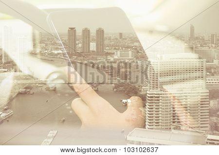 Using digital tablet double exposure