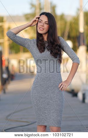 beautiful young woman walking outdoors