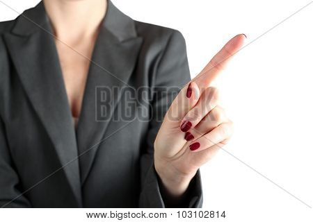 Businesswoman Touching Something  By Finger