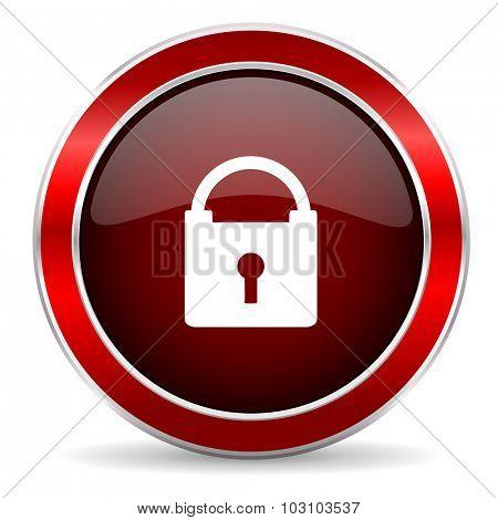 padlock red circle glossy web icon, round button with metallic border