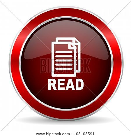 read red circle glossy web icon, round button with metallic border
