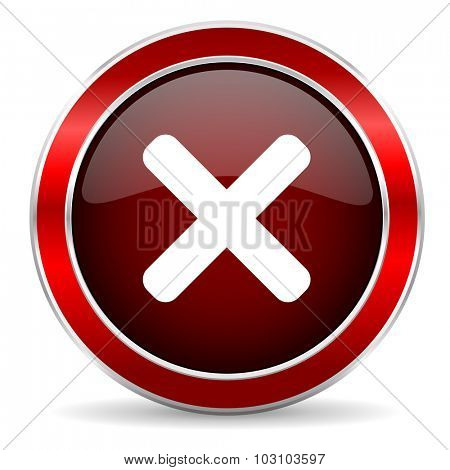 cancel red circle glossy web icon, round button with metallic border