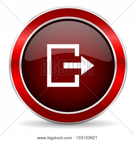 exit red circle glossy web icon, round button with metallic border