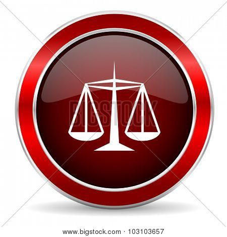 justice red circle glossy web icon, round button with metallic border