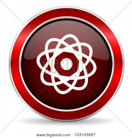 atom red circle glossy web icon, round button with metallic border