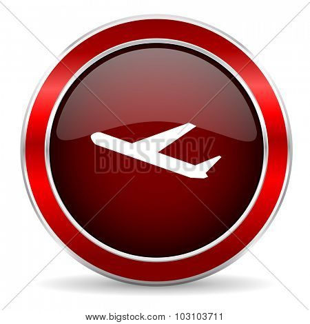 departures red circle glossy web icon, round button with metallic border