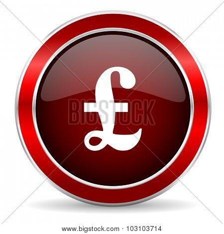 pound red circle glossy web icon, round button with metallic border