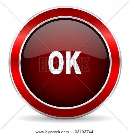 ok red circle glossy web icon, round button with metallic border