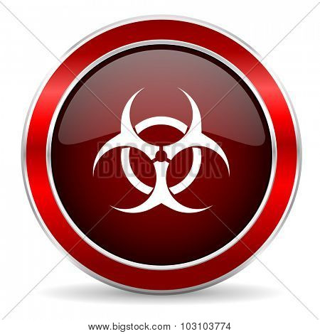 biohazard red circle glossy web icon, round button with metallic border