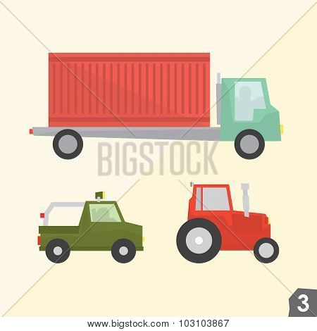 Container truck, safari jeep and farm tractor. Transportation vector set 3