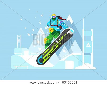 Snowboarder cartoon character