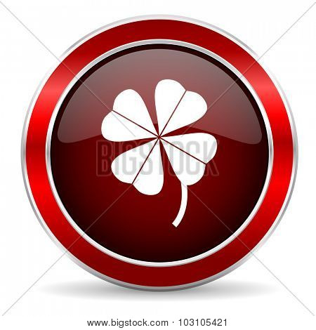 four-leaf clover red circle glossy web icon, round button with metallic border