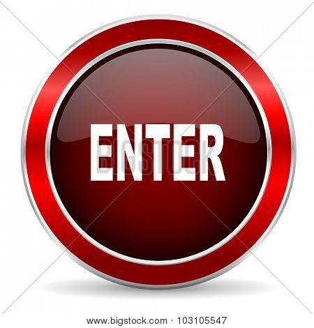 enter red circle glossy web icon, round button with metallic border