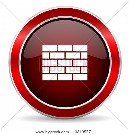 firewall red circle glossy web icon, round button with metallic border