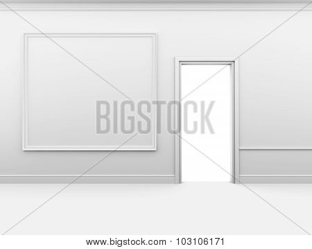 Open door and frame on the wall in an empty interior