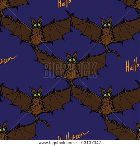 Seamless pattern with colored cartoon bat