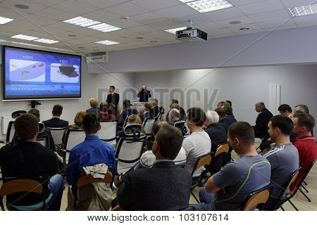 ST. PETERSBURG, RUSSIA - SEPTEMBER 22, 2015: Presentation of the Ice navigation training center in Krylov state research center. New training programs rely to requirements of STCW Convention
