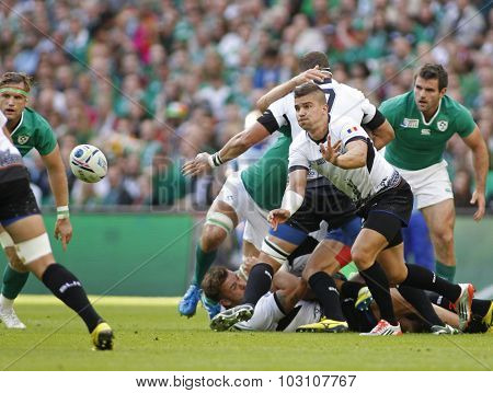 LONDON, ENGLAND - SEPTEMBER 27 2015: The 2015 Rugby World Cup Pool D match between Ireland and Romania at Wembley Stadium, on September 27, 2015 in London, United Kingdom.