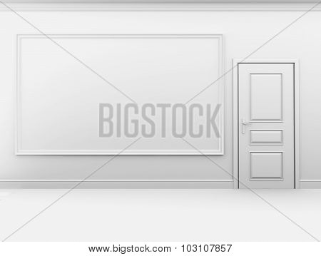 Blank big frame and a closed door in the interior