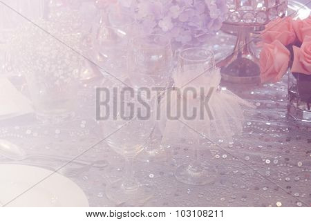 Wine Glass, Bunch Of Purple Hydrangea, Pink Rose And Crystal Ornament With Soft Focus And Color Filt