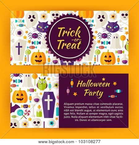 Trick Or Treat Halloween Party Flat Style Vector Template Banners Set