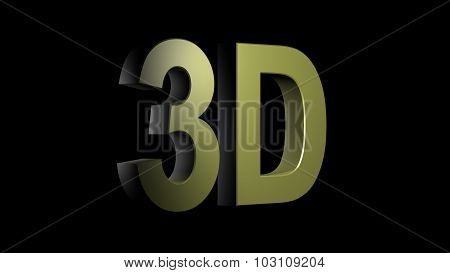 3D Logo Isolated On Black Background