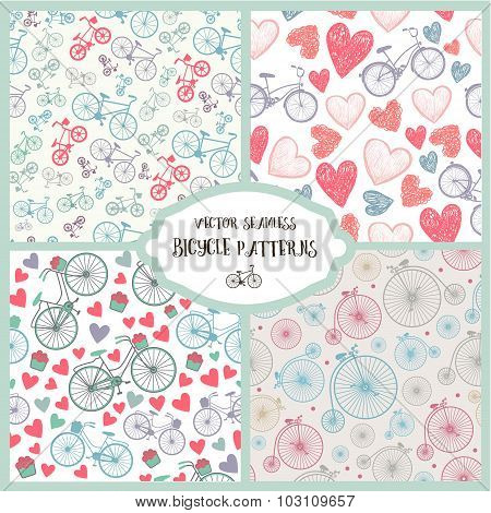 Vector set of seamless romantic bicycle patterns.