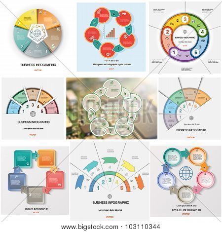 Set 9 Templates Infographics Cyclic Processes On Five Positions