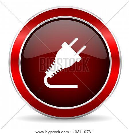 plug red circle glossy web icon, round button with metallic border