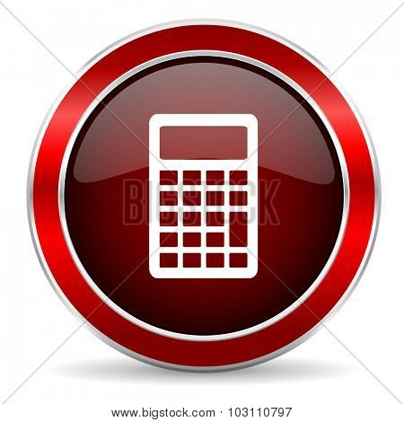 calculator red circle glossy web icon, round button with metallic border