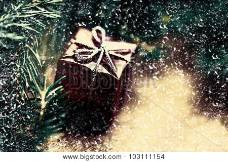 Christmas Card With Present Box And Fir Cone Tree On Wooden Background Close Up. Christmas Compositi