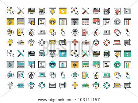 Flat line colorful icons collection of web design and development