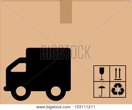 background cardboard box with car icon.