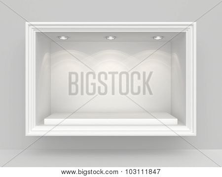 White wall with niche and empty pedestal for exhibition